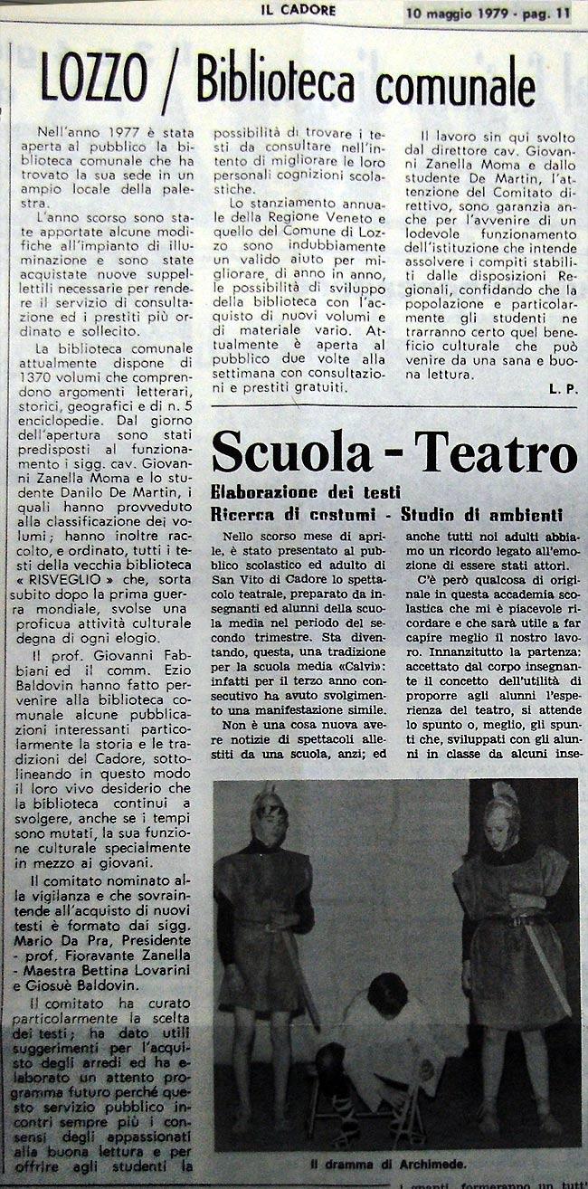 """Lozzo, biblioteca comunale: ritaglio tratto da """"il Cadore"""", 10 maggio 1979, p. 11"""