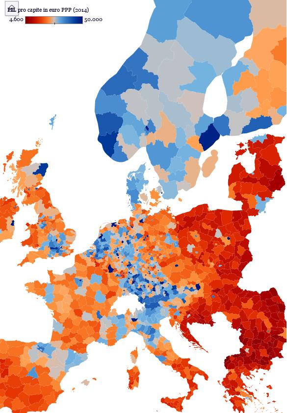 PIL pro capite 2014 a parità di potere d'acquisto UE NUT 3