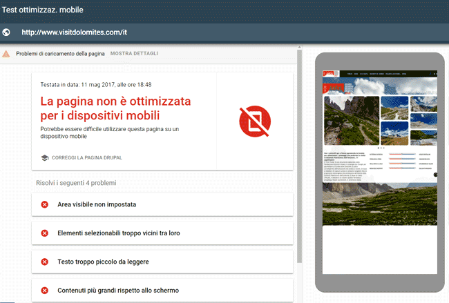 screen shot del test di Google per siti ottimizzati per mobile