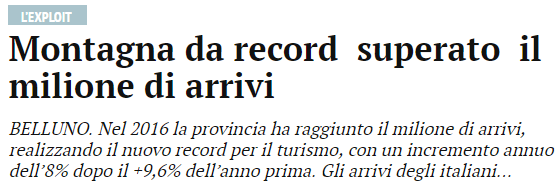 tratto da Corriere delle Alpi online 7 giugno 2017