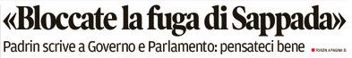 estratto prima pagina Corriere delle Alpi del 07 ottobre 2017