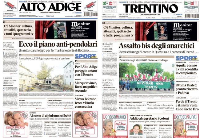 screenshot delle prime dei quotidiani Alto Adige e Trentino del 23 ottobre 2017