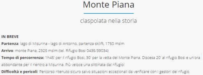 estratto da sito ciaspole.net riguardante percorso per Monte Piana