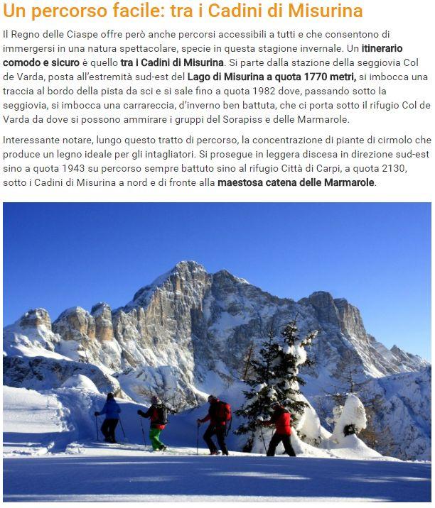"""Screenshot di articolo """"cocodè"""" che descrive un percorso con ciaspe sui Cadini di Misurina corredandolo con foto del Monte Civetta"""