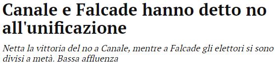 Canale e Falcade hanno detto no all'unificazione: tratto dal Corriere delle Alpi del 18 dicembre 2017