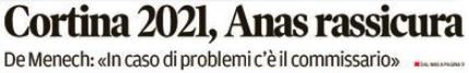 tratto dalla prima pagina del Corriere delle Alpi  lunedi 8 gennaio 2018