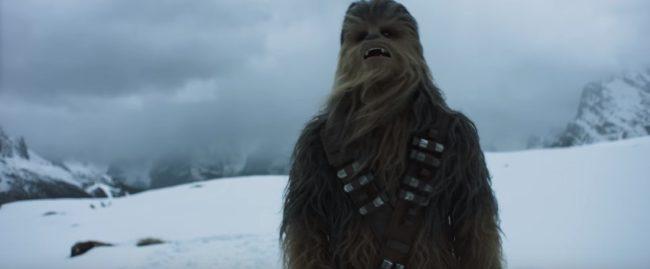 Trailer Star Wars: sullo sfondo, oltre Chewbecca (la cosa pelosa :-) ), a sinistra Col de Varda, a destra contrafforte del Cristallino di Misurina