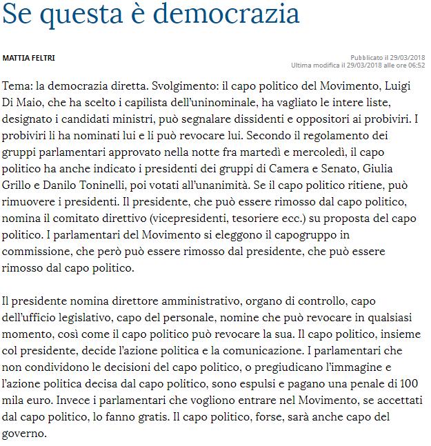 """Tratto da il """"Buongiono"""" di Mattia Feltri, La Stampa"""