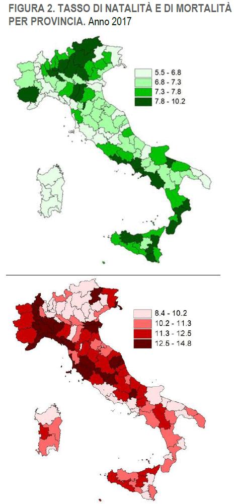 Natalità e mortalità per provincia 2017