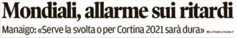 trafiletto tratto da prima pagina Corriere delle Alpi sabato 16 giugno 2018