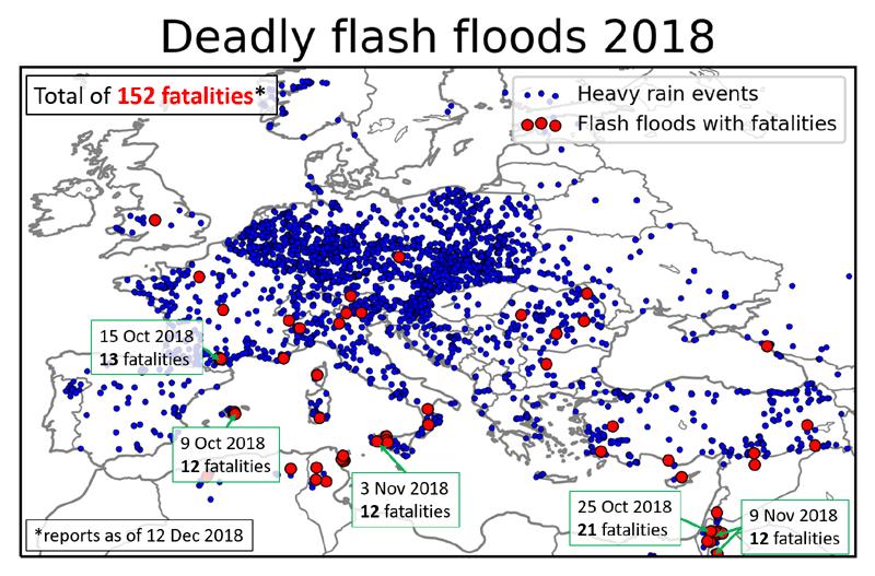 Mappa dei flash floods e  heavy rainfall tratta da European Severe Storm Laboratory (dic 2018)