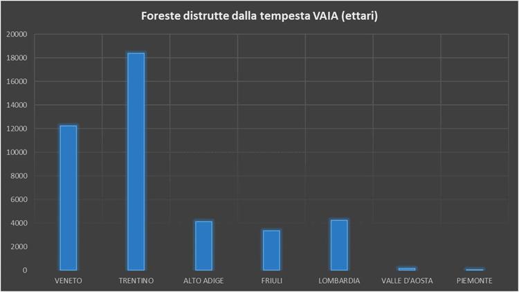 Foreste distrutte dalla tempesta Vaia (ettari) - Geolab Università di Firenze