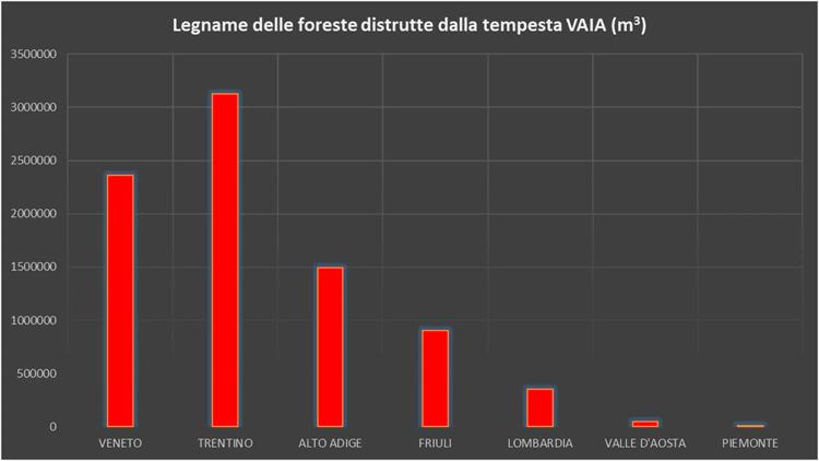 Legname delle foreste distrutte dalla tempesta Vaia (metri cubi) - Geolab Università di Firenze