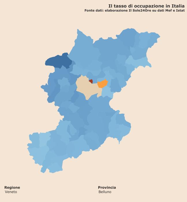 """tasso di occupazione """"Infodata"""" a livello comunale per la provincia di Belluno"""