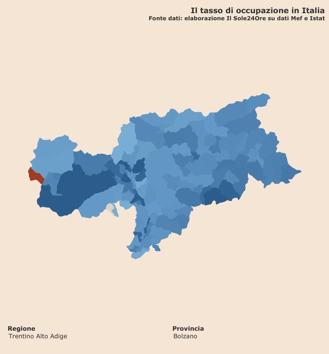 """tasso di occupazione """"Infodata"""" a livello comunale per la provincia di Bolzano"""