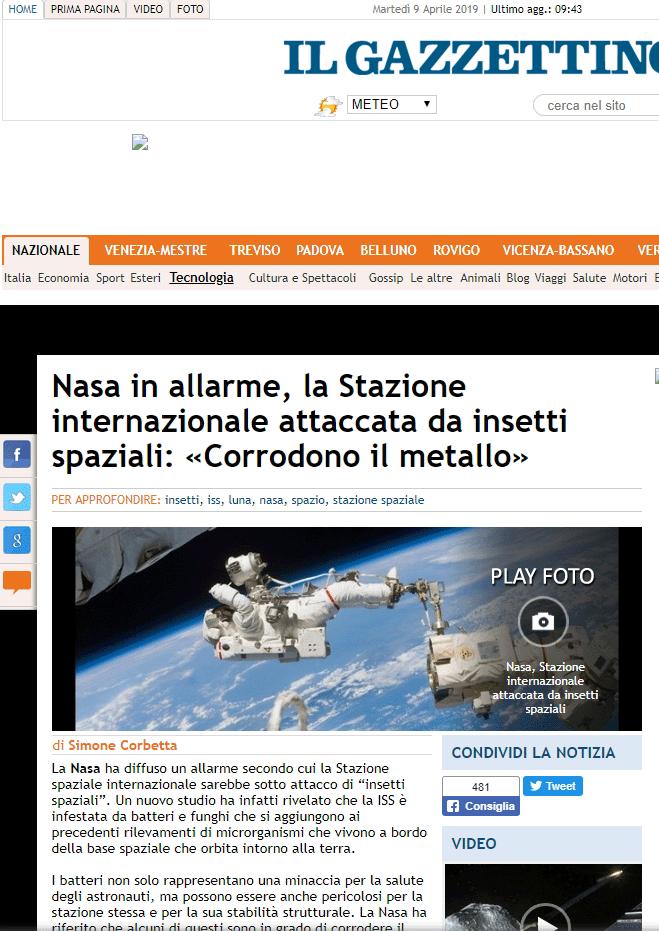 screenshot articolo Gazzettino.it dell'8 aprile 2019