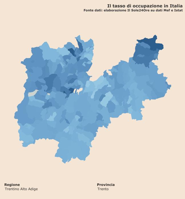 """tasso di occupazione """"Infodata"""" a livello comunale per la provincia di Trento"""