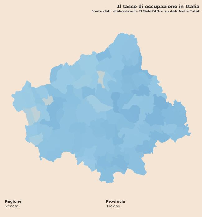 """tasso di occupazione """"Infodata"""" a livello comunale per la provincia di Treviso"""