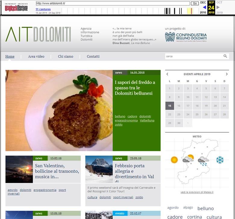 screenshot della ricerca su WayBackMachine svolta il 15 aprile 2019 del sito www.aitdolomiti.it