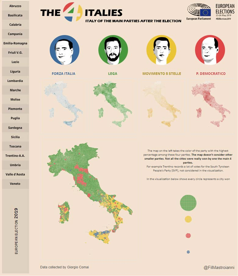 i quattro colori dell'Italia post-elezioni 2019: Italia (tratto da il Sole 24 Ore)