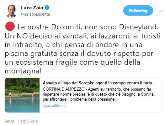 screenshot tweet Luca Zaia su lago del Sorapiss 13 giugno 2019