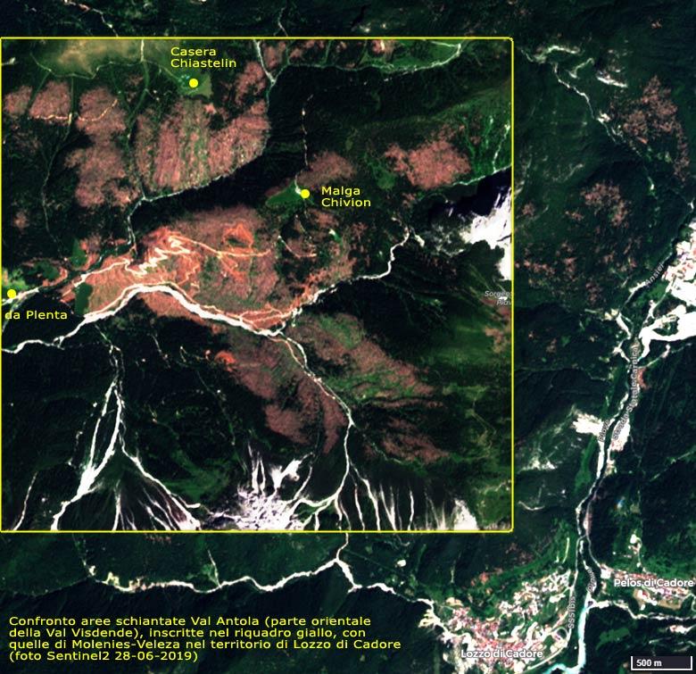 confronto aree schiantate Val Antola (parte orientale della Val Visdende) con quelle di Molenies-Veleza nel territorio di Lozzo di Cadore (foto Sentinel2 del 28-06-2019)
