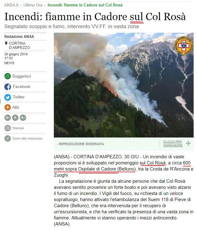 screen shot notizia Ansa 30-06-2019 relativa a incendio sul Col Rosà