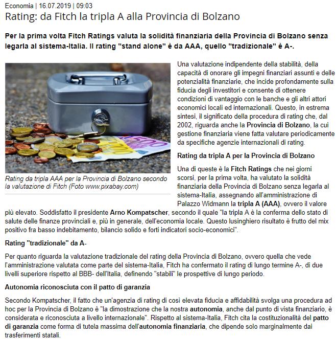 Rating tripla A alla provincia di Bolzano (notizia del 16-07-2019 dal sito Provincia autonoma di Bolzano)