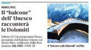 ritaglio prima pagina del Corriere delle Alpi del 10-09-2019