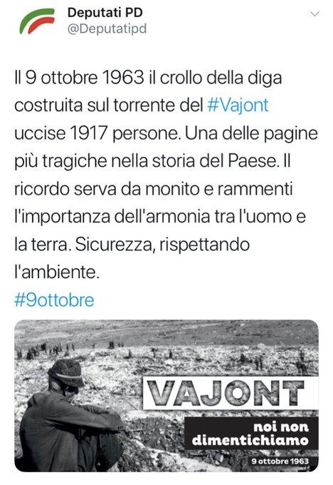 Screenshot di un tweet pubblicato dall'account twitter dei Deputati PD riguardante il crollo della diga sul torrente Vajont il 9 ottobre 1963