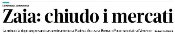 estratto prima pagina Corriere delle Alpi del 30 marzo 2020