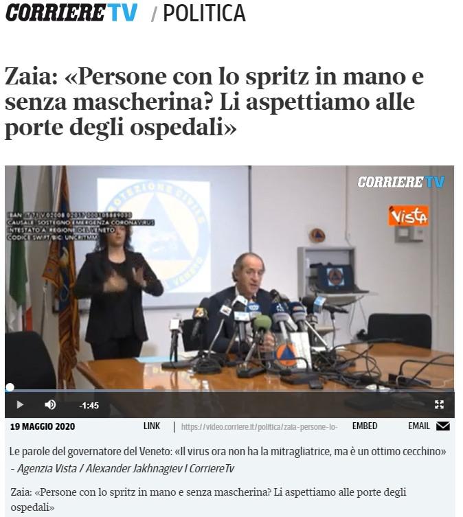 Corriere della Sera onlina, 19 maggio 2020