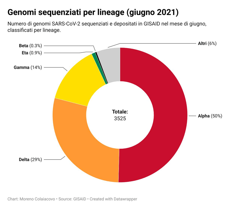 Genomi sequenziati per lineage (giugno 2021): totale Italia
