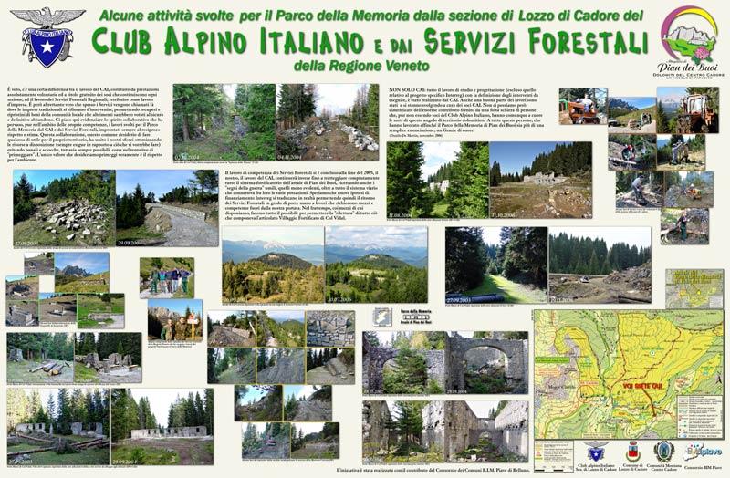 Pannellatura attività svolta per il PdM dalla sezione di Lozzo di Cadore del Club Alpino Italiano e dai Servizi Forestali della Regione Veneto (clicca per ingrandire)
