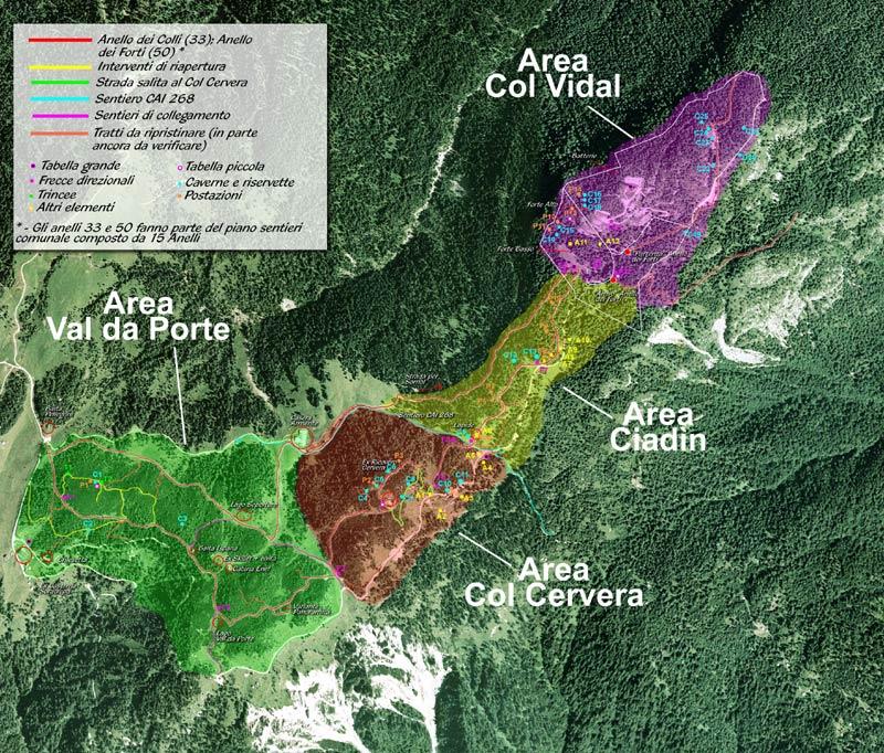 Ortofoto dell'areale PdB del Parco della Memoria di Pian dei Buoi con le aree costituenti (cliccare per ingrandire a 1500 px)