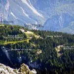 """Particolare della zona tra i forti Alto e Basso con in evidenza l'area della Trincea """"de le Pionbade"""" ripreso dalla forcella San Lorenzo"""