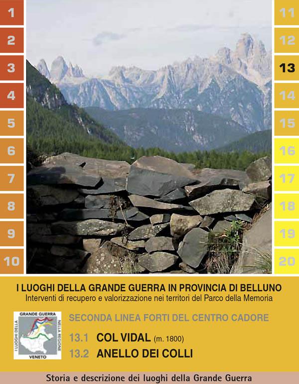 Frontespizio del pieghevole 13.1 Col Vidal e 13.2 Anello dei Colli