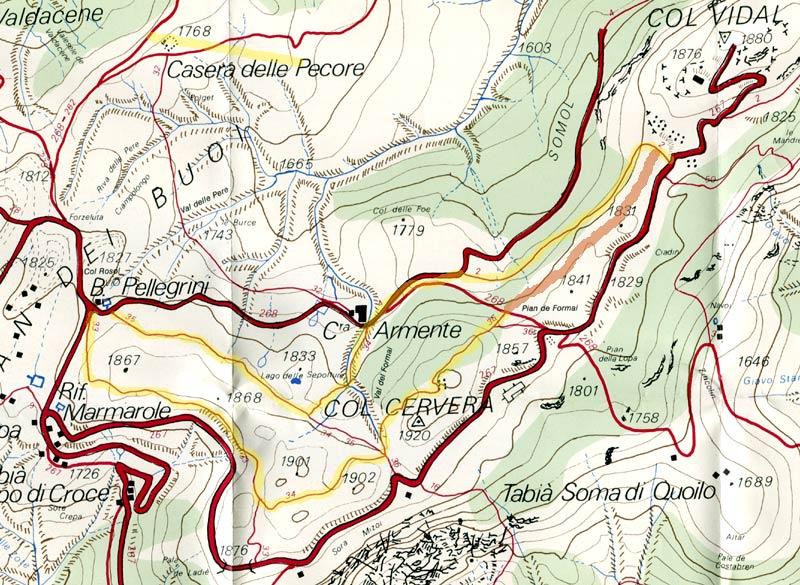 estratto della Carta dei Sentieri del 1990 relativa all'areale di Pian dei Buoi con evidenziato il percorso dell'Anello 33