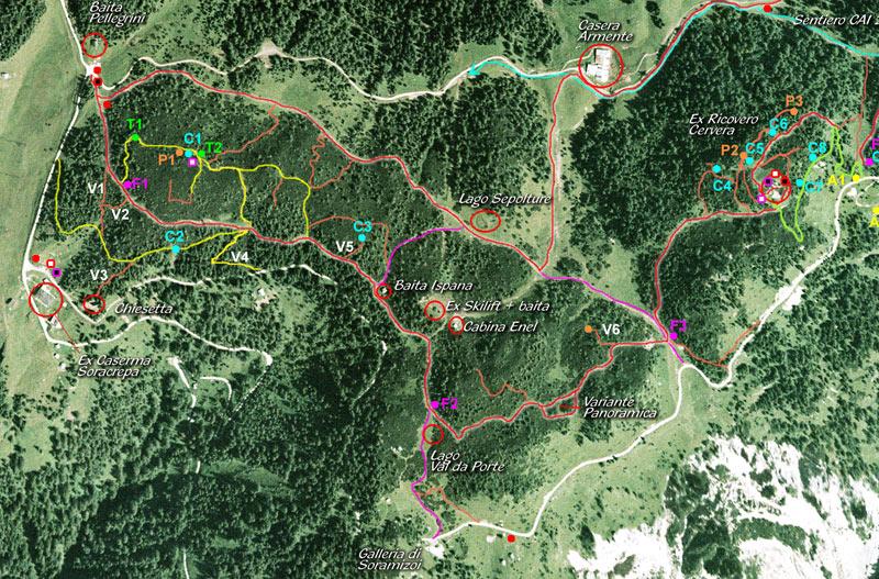 Foto aerea dell'area Val da Porte: in giallo i percorsi ripristinati