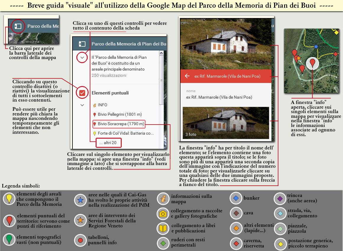 breve guida visuale all'utilizzo della Google Map del Parco della Memoria di Pian dei Buoi