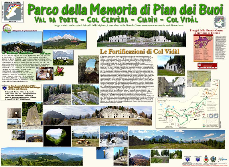Parco della Memoria di Pian dei Buoi (Val da Porte, Col cervera, Ciadin, Col Vidal)
