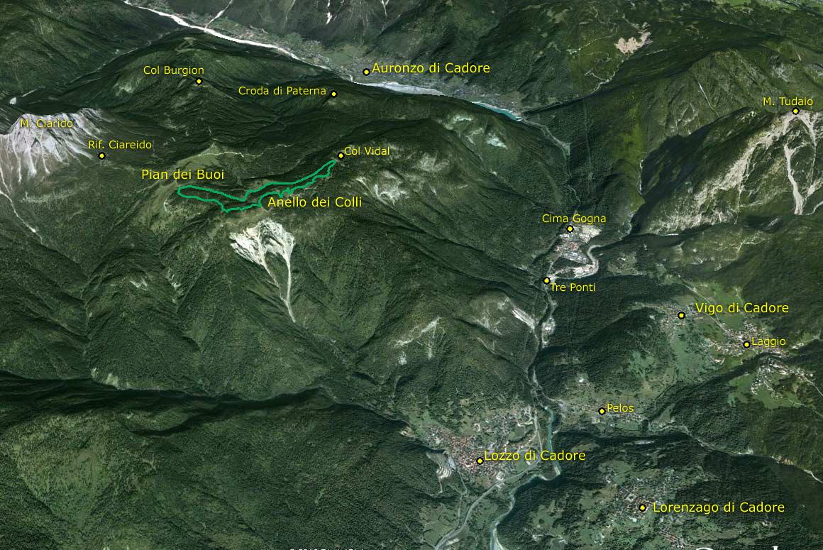 Il Parco della Memoria in 3D (da Google Earth): dal M. Ciarìdo al M. Tudaio passando per Col Vidal