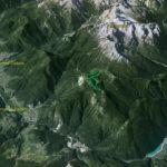 Il Parco della Memoria in 3D (da Google Earth): il balcone panoramico offerto dal Parco, dominante rispetto alla valle d'Ansiei e a quella del Piave
