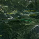Il Parco della Memoria in 3D (da Google Earth): ripresa da nord; in basso a d. il M. Ciarìdo