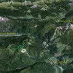 Il Parco della Memoria in 3D (da Google Earth): in alto il Comelico con S. Stefano e più a sin. Costa e Costalissoio