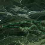 Il Parco della Memoria in 3D (da Google Earth): la dorsale dei Colli da Col Vidal a Soracrepa ripresa da nord; a valle i paesi di Vigo, Laggio, Pelos, Lorenzago e, di qua dal Piave, Lozzo di Cadore