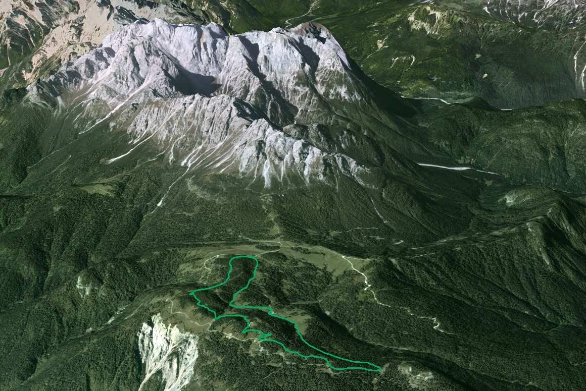 Il Parco della Memoria in 3D (da Google Earth): visione con le Marmarole sullo sfondo (Cimon del Froppa-Croda di Somprade, Croda Bianca-Ciarìdo) e la Val da Rin