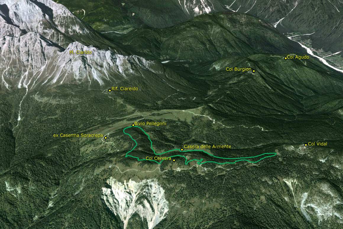Il Parco della Memoria in 3D (da Google Earth): dal M. Ciarìdo al Col Vidal