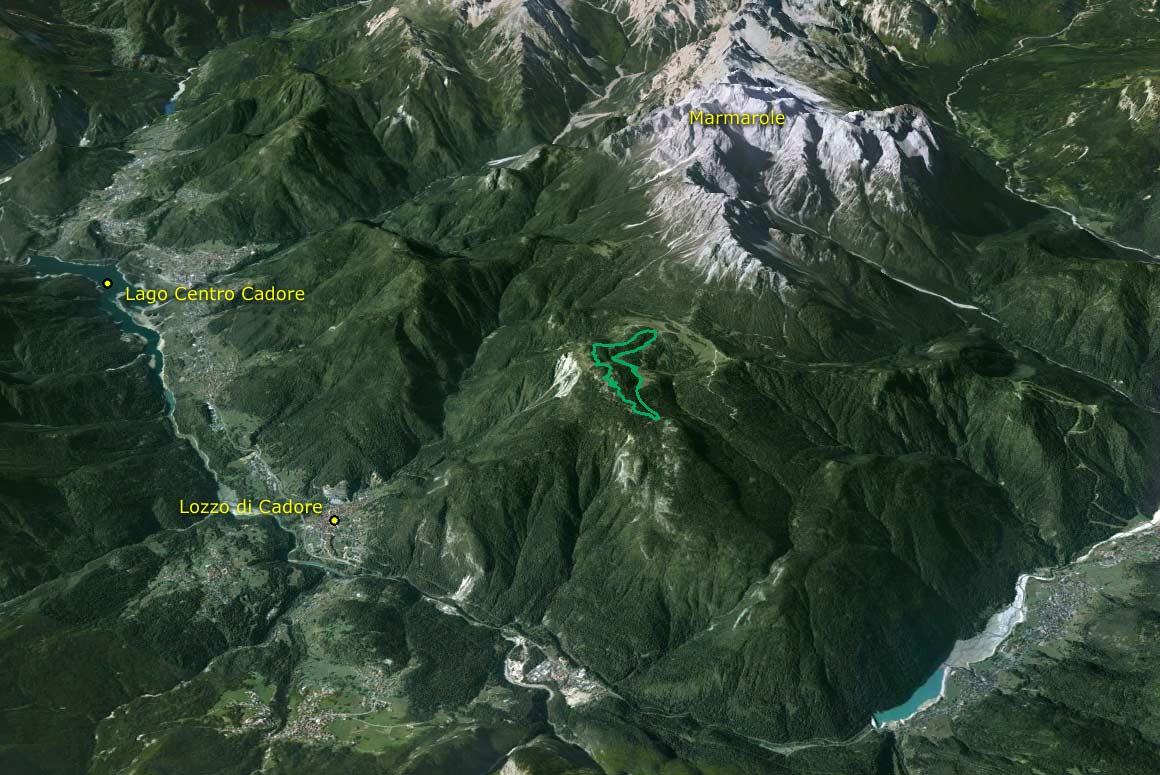 Visione aerea da est del Parco della Memoria di Pian dei Buoi (Google Earth)