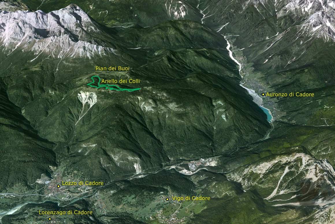 Visione aerea da sud del Parco della Memoria di Pian dei Buoi (Google Earth)